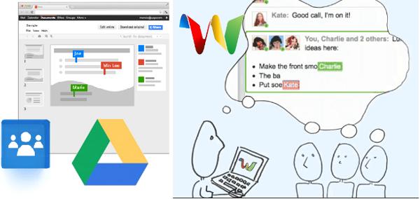 A l'esquerra google Drive , a la dreta google Wave